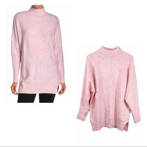 MAGASCHONI heather pink white tunic sweater NWT